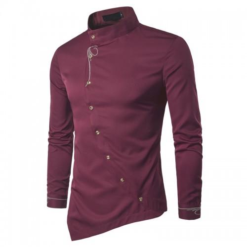 2017 Fashion New Male Shirt Long Sleeve Mens Clothes Oblique Button Dress Shirts Mandarin Collar Men