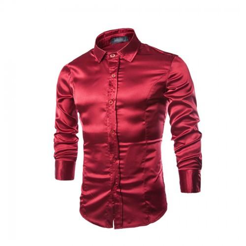 2017 Men s Shirts Bright Satin Tuxedo Shirt Male Tops Long Sleeve Cool Standard Slim