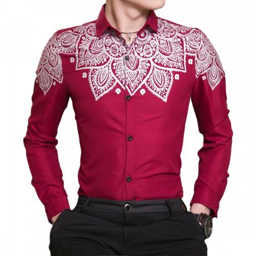 2017 Red Royal Blue Black Casual Wedding shirt men Fashion Print Shirts Gentleman camisas Tops Long