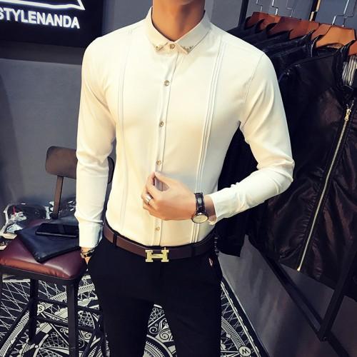 Autumn Men Casual Shirt Business Hot Sale Plus Size Solid Fashion Tuxedo Shirts Men Long Sleeve