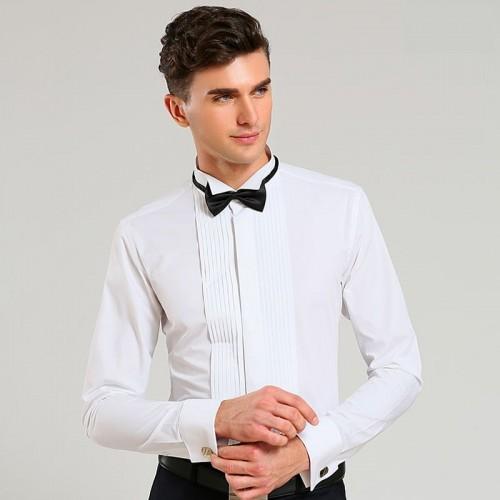 Men Shirt 2017 New Men Tuxedo Shirt Sleeved Dress Shirt Lapel party Free Men tie S