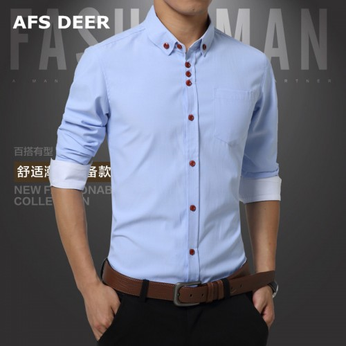 Men Shirt Long Sleeve Mandarin Collar Slim Fit New Fashion Casual Shirt Men 100 cotton Mens