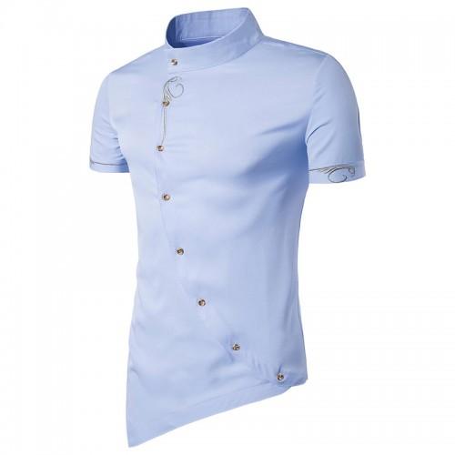 Men Shirt Short Sleeve Brand New Tops Personality Oblique Button Dress Shirts Mandarin Collar Men Tuxedo