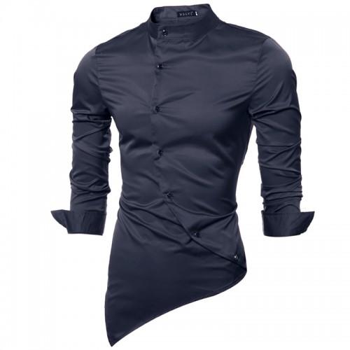 Men s Shirt Long Sleeve Top New Personality Blank Shirt Button Cheongsam Men Men Dresses Shirts