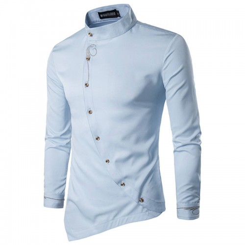 Vellsar Men Shirts Luxury Cotton Shirt Irregular Suit Stylish Dress Shirts Long Sleeve Tops Embroidery Male