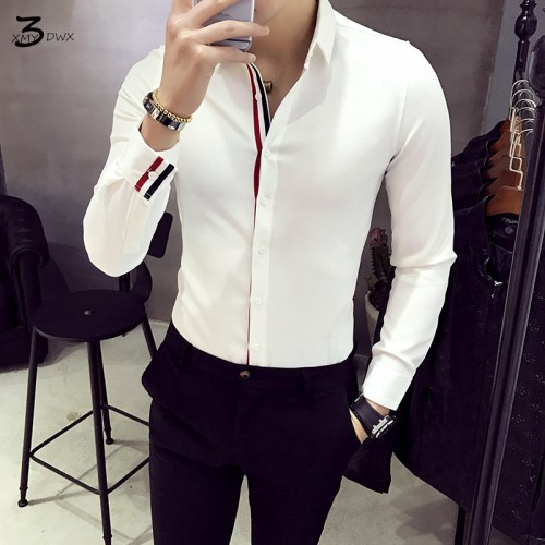 XMY3DWX Men long sleeve shirt personality selling brand Europe the design thin body dress shirt fashion