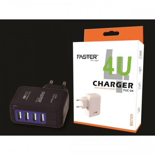 Faster FUC-04 - 4 Port USB Charger - Black / FASTER PK