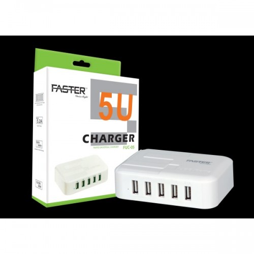 Faster FUC-04 - 4 Port USB Charger - White / FASTER PK