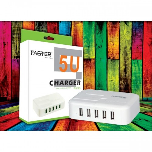 Faster FUC-05 5 Port USB Charger - White / FASTER PK