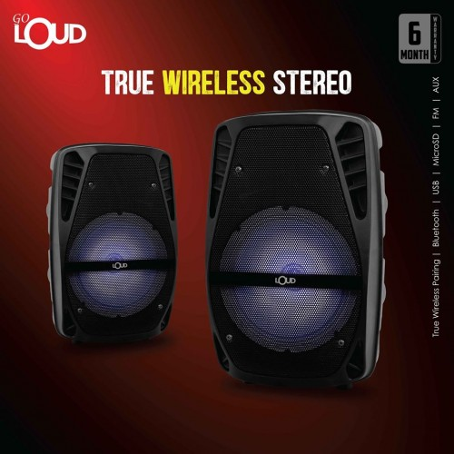 "Loud Pair of Speakers 15"" 1000w Powered Set with Microphone & Stands"