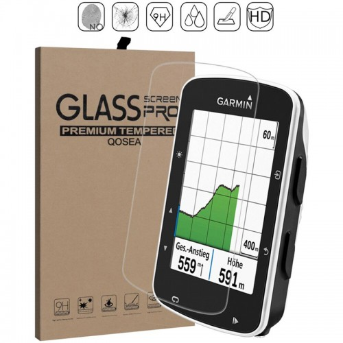 Qosea For Garmin Edge 520 Tempered Glass Ultra thin 9H Clear Scratch Resistant For Edge 520