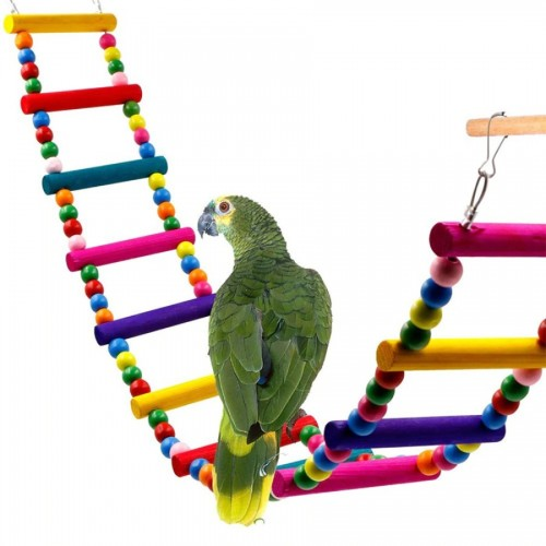 1PC New Pet Toy Birds Toys Popular 4Sizes Cockatiel Birds Pet Accessories Cute Drawbridge Chromatic Wooden