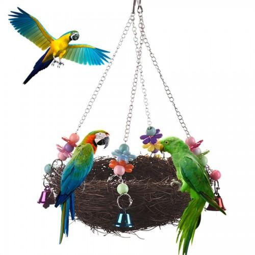 27 12cm Parrot Hammock Bird Nest Cockatoo Hanging Swing Cage Toys