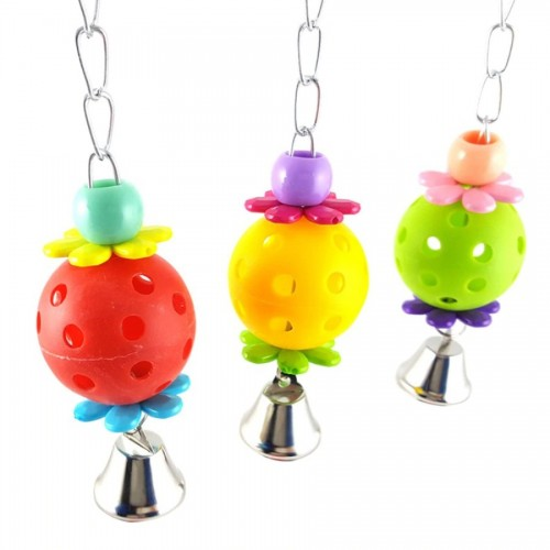 Cute Pet Bird Toys Parrot Bites Climb Chew Toys Bell Swing Cage Hanging Parakeet Budgie Products