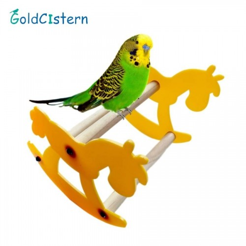 Funny Parrot bird chew toy Small Wooden Horse Rocking Chair Seesaw Bird stand Toys