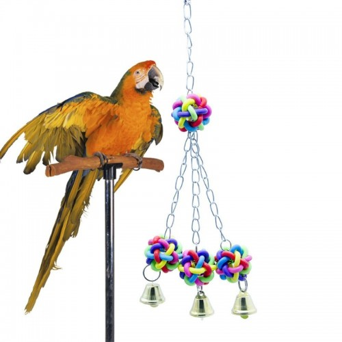 Bird Parrot Bite Ball Colorful Plastic Ball Cage Hanging Toy for Monk Parakeet Parakeet Cockatiel Swing