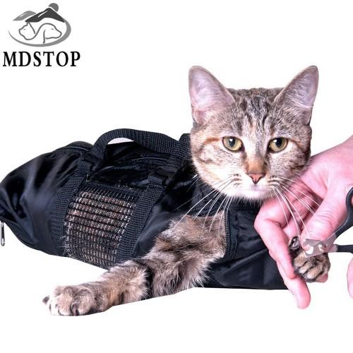 Black Cheap Breathable Durable Cat Bathing Bag Multifunction Pet Grooming Bag Mesh Cat Carrier