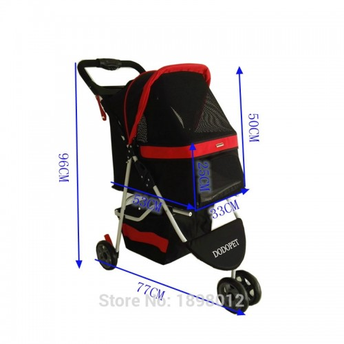 One Key Folding Pet Stroller For Carrying Cats Wheels Puppy Cart Carrier