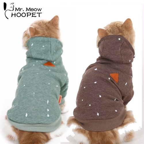 Cat Clothes Ink Printing Hoodies Hooded Sweater Fall And Winter Clothes Casual Warm Green Brown Fashion