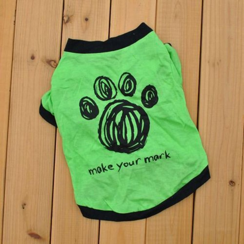 Summer Pet Clothes Pets Small Cat Puppy Skull Footprint Printed Shirt Tops Blouse Cats