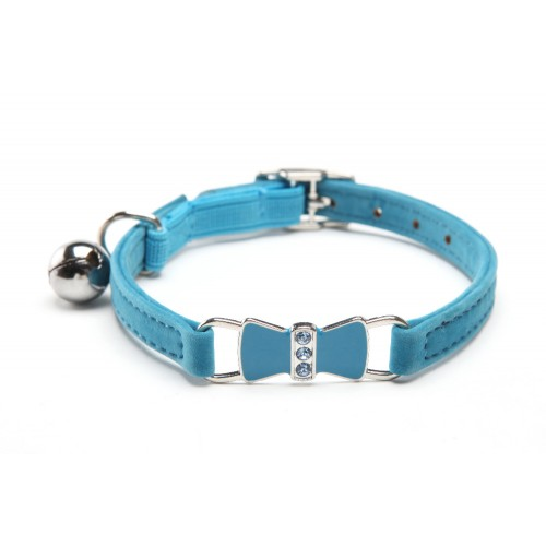 Bling Bow Enamel Crystal Cat Collar With Safety Elastic Belt Bell Pet Collars