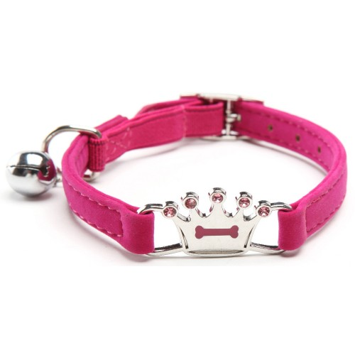 Bling Crown Bone Enamel Cat Collar Pet Collar with Safety Elastic Belt Bell
