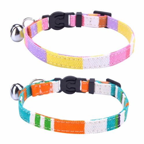 Breakaway Cat Collar Rainbow Canvas Personalized Safe Kitten Puppy Collars with Bell Adjustable