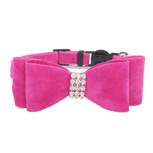 Cat Collar Baby Puppies Dog Safety Elastic Adjustable with Bow and Bell Soft Velvet