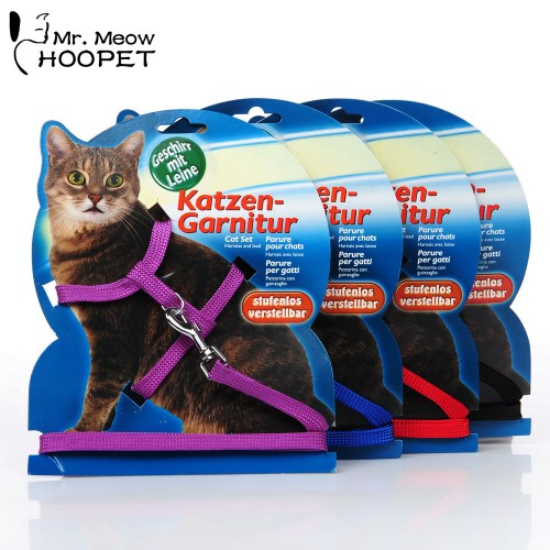 Cat Harness Leash Adjustable Fitted Design Outdoor Walk non slip Cat Red Black Blue Purple