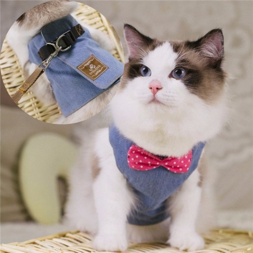 Cat Harnesses Kitten Traction Elegant Bohemia Style Vest 130cm Leash Set Lovely jeans bow knot Pattern