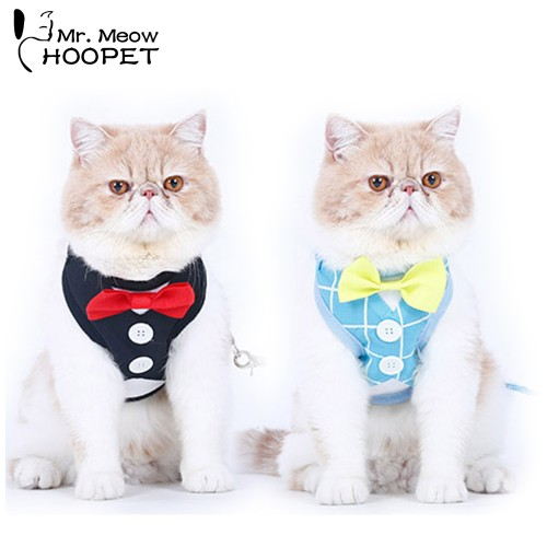 Cat Harnesses Set Cute Bowtie Leash Collar Polyester Fabrics British Style small Adjustable Wedding