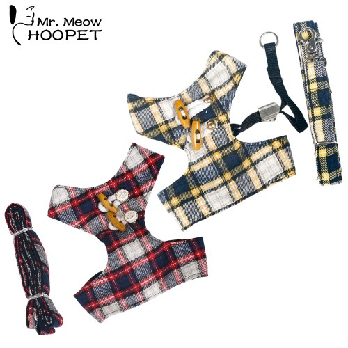 Cat Harnesses Set England Style Child Leashes Comfortable Fabrics Polyester Vest Design Yellow Red Pet Supplies