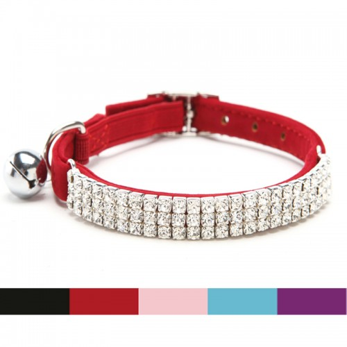 Collar Cat Baby Puppies Dog Safety Elastic Adjustable with Diamante Rhinestone bell Soft velvet
