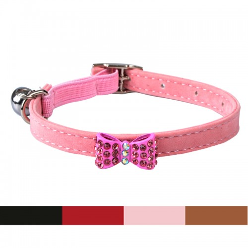 Collar Cat Baby Safety Elastic belt Adjustable with Bling butterfly Bell Soft