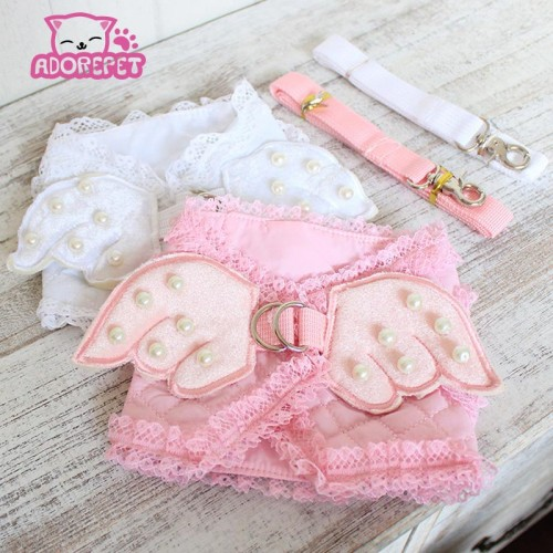 Cute pink angel small cat Harness vest lead Leash pet cat luxury pearl
