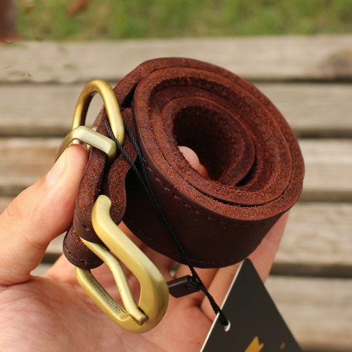 Designers Fashion Genuine Leather Belt for Large Pet Collars Brass Buckle Cowhide