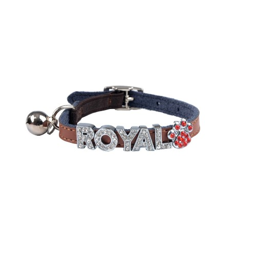 Fashion Genuine Leather Cat Collar with Letter Name Kitty Puppy Collars with Bell