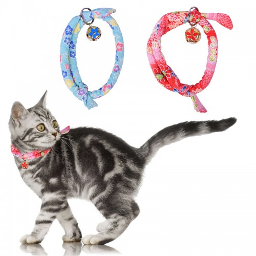 Handmade Adjustable Cat Collar Printed Necktie Necklace With Bell for Pets Kitten Cat