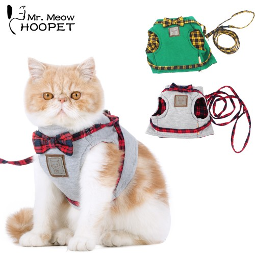 Harnesses Cat Traction Kit Elegant British Style Jacket Leash Set Gray Green Cute Bow