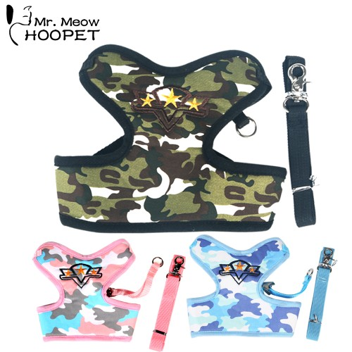 Small Cat Camouflage Clothing Suit Harnesses Leashes Super Comfortable Pet Supplies Pink Green