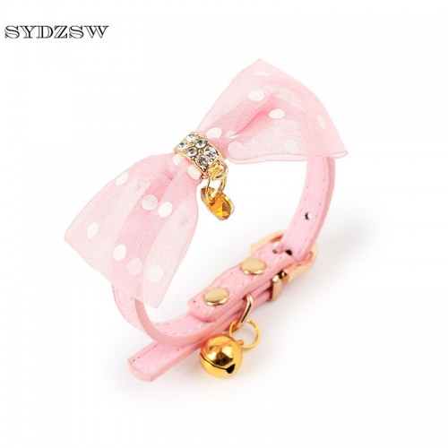 Small Pet Cat Collar Leads Top Grade Glitter Bell Cat Leather Collar Luxury
