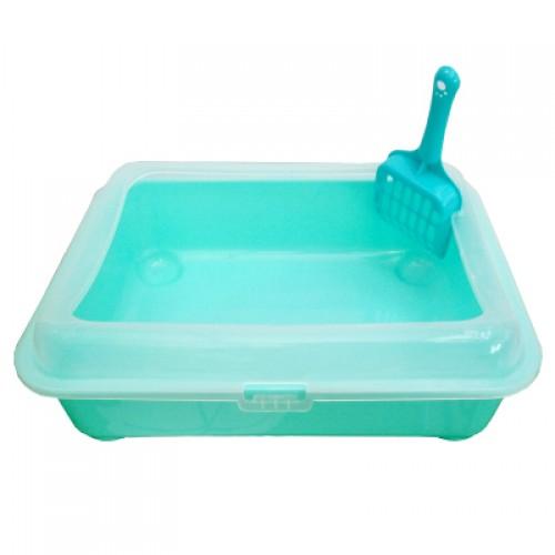 Transparent and semi closed basin of cat litter Pet cat toilet
