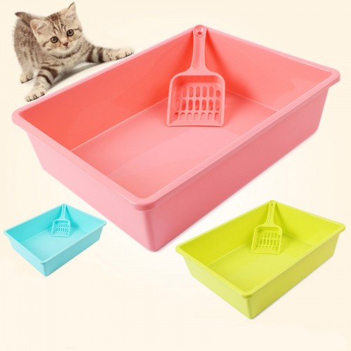 With Scooper Cat Bedpans Semi Closed Anti splash Toilet Pet Litter Box Plastic