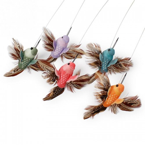 Electric Rotating Colorful Butterfly and Bird Pattern Funny Cat Toys Pet