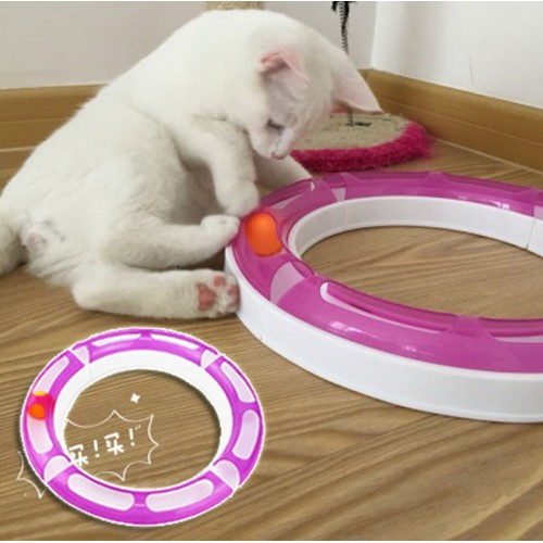 Fun Cat Pet Track and Ball Toys Chase Game Orbit Balls Cat Toy