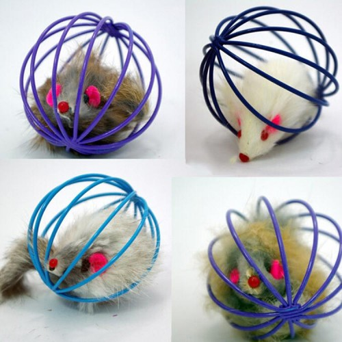 Fun Toys False Mouse in Rat Cage Ball For Pet Cat Kitten Play Toy