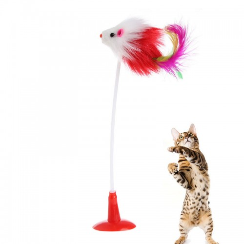 Funny Pet Feather False Mouse Bottom Sucker Cat Kitten Playing Scratch Toy Lot