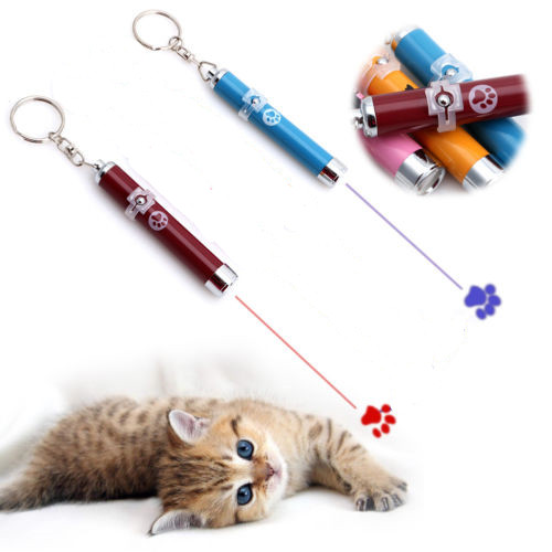 Pet Cat Kitten Toy Laser Pointer LED Light Pen Torch Moving Footprint Chase Toy