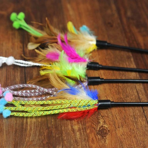 Pet Product Pet Toys Cat Toys With Feather Cat Playing Stick Funny