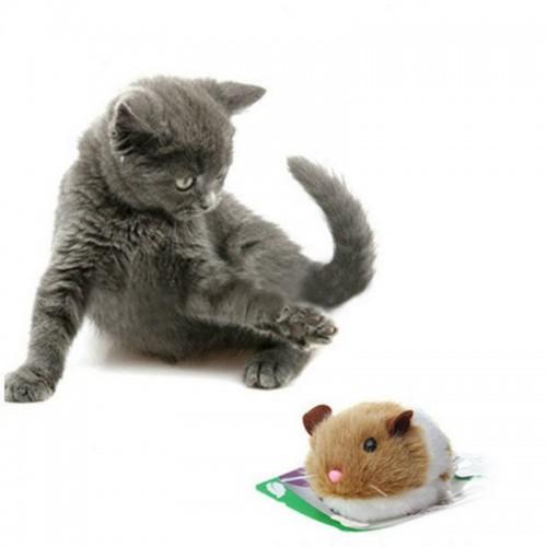 Shaking Rat Cats Toys Pet Supplies Plush Cashmere Manual Pull Ring Vibration Toys Automatic